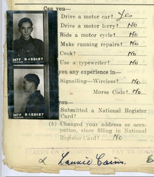 18-year-old shop assistant Laurie Cains enlists in the army, October 1943 (image: Mr Cains' service record)