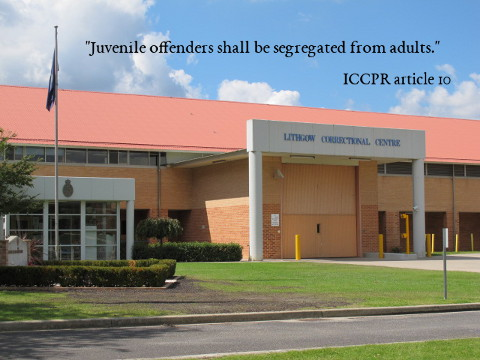 Juvenile offenders shall be segregated from adults. ICCPR, article 10
